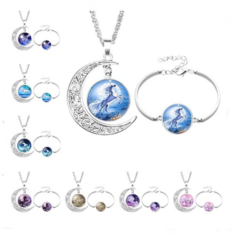 Unicorn Necklaces and bracelets Unicorn Pendant Art Photo Unicorn Jewelry Glass Cabochon Fairy Tale Pendant Fantasy Jewelry