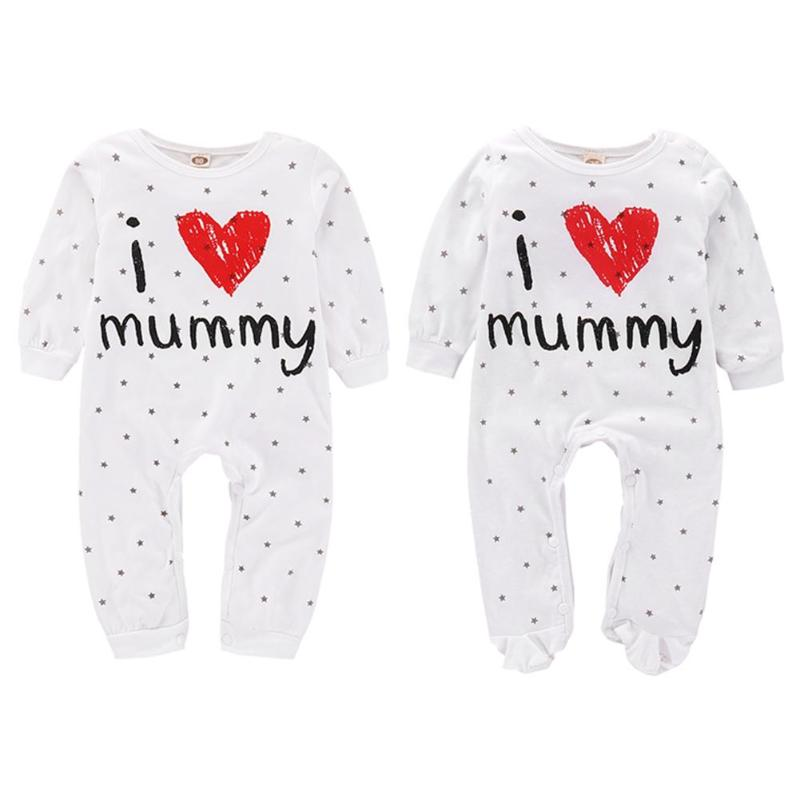 Unisex Baby Girl Boy Cotton Romper Cute Unisex Baby Stars I Love Mummy Print Long Sleeve Romper Cotton Jumpsuit Soft Clothes