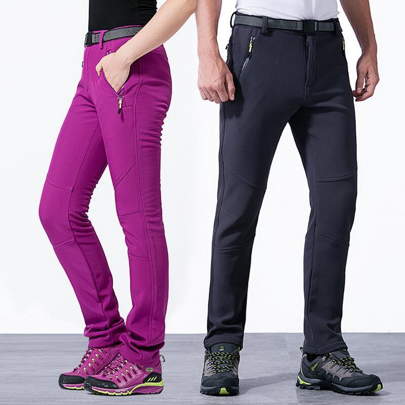 ФОТО Outdoor softshell pants men and women trousers windproof waterproof winter thicker warm hiking hunting climbing Fleece pants