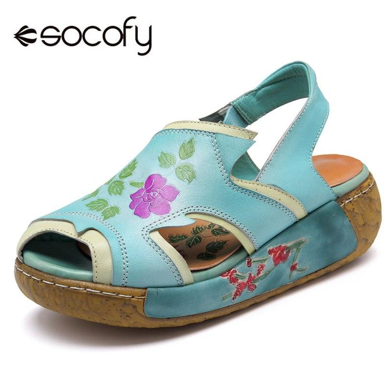 Socofy Véritable Plate-Forme En Cuir Sandales Femmes Chaussures Peep Toe Slingback Crochet Boucle Casual Sandales Vintage Fleur Chaussures D'été Nouveau