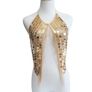 Image 4 - Соблазнительное великолепное ожерелье в стиле бохо с металлическими блестками и кисточками, цепочка для бюстгальтера, женское Ювелирное Украшение, массивная цепочка для бикини из металлического сплава