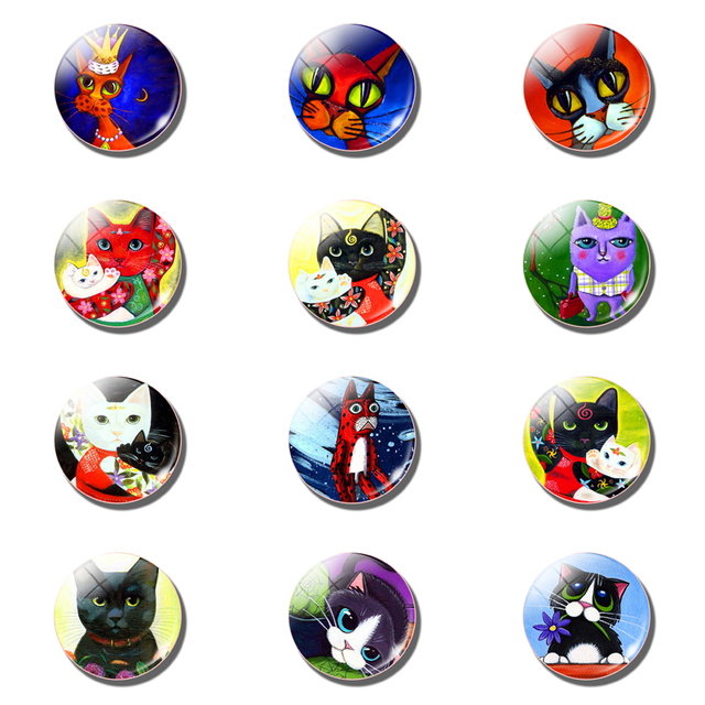 12pcs Cute Cat Fridge Magnet Sets Lovely 25MM Glass Note Holder Removable Magnets Refrigerator Sticker Magnetic Home Decor 4