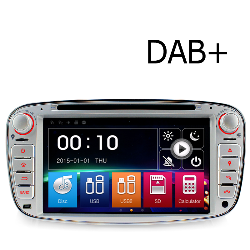A-Sure 7 Car Radio Player GPS for Ford Mondeo Focus Galaxy S-Max C-Max Kuga Front USB Port & Dual TF SD Card S Mirror Link DAB+