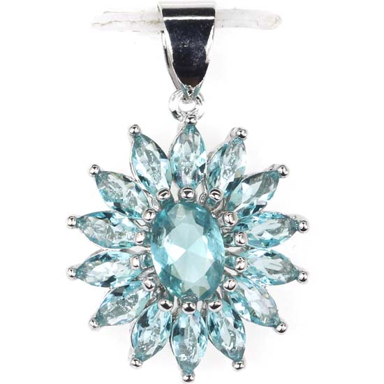 Stunning Rich Blue Aquamarine Ladies Wedding 925 Silver Pendant 20x17mm