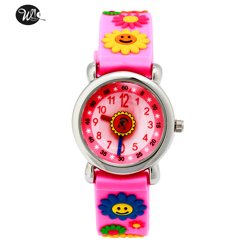 Children's Watch 3D Strap Cartoon Boy Girl Sunflower Quartz Watch Pointer Electronic Waterproof Watch Child Watch