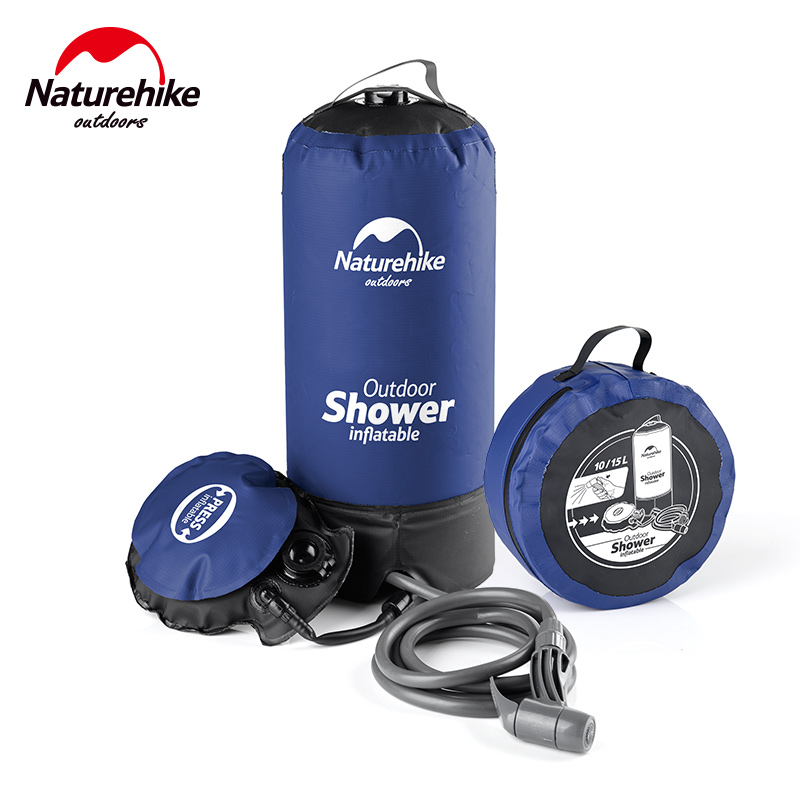 naturehike 11l outdoor camping shower water bag folding pvc portable shower bag for hiking camping bbq