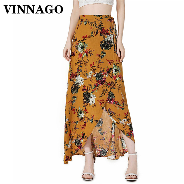 Aliexpress.com : Buy Vinnago Floral Print Long Skirt High Waist ...