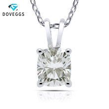 цены DovEggs Elegant Sterling Solid 925 Silver 7*8mm Cushion Cut HI Color Lab Grown Moissanite Daily Wear Pendant Necklace for Women