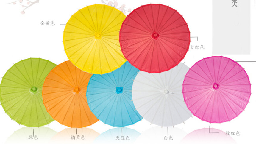 Wedding Parasols Paper Parasol Sun Umbrellas Accessories Handmade 33'' Diameter Solid Color Paper Umbrella Chinese Straig