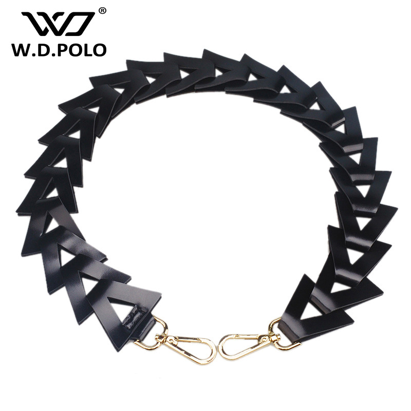 WDPOLO Fashion leather bags strap triangle patchwork bag strap chic woven women shoulder belt easy matching lady bag strap AA169