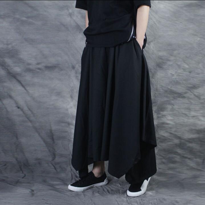 Irregular Negro Los Casuales Hombres Oscuro Marea De Falda Pantalones Cuerno Sueltos Gran Nueve TFwqHzC
