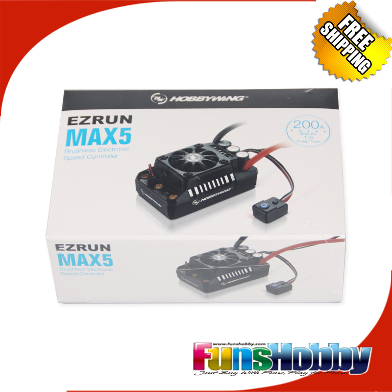 Hobbywing EzRun MAX5 200A Sensorless Brushless ESC For 1/5 RC Car Cod.30104000 sensorless 35a brushless esc electric speed controller for rc car racing set ft