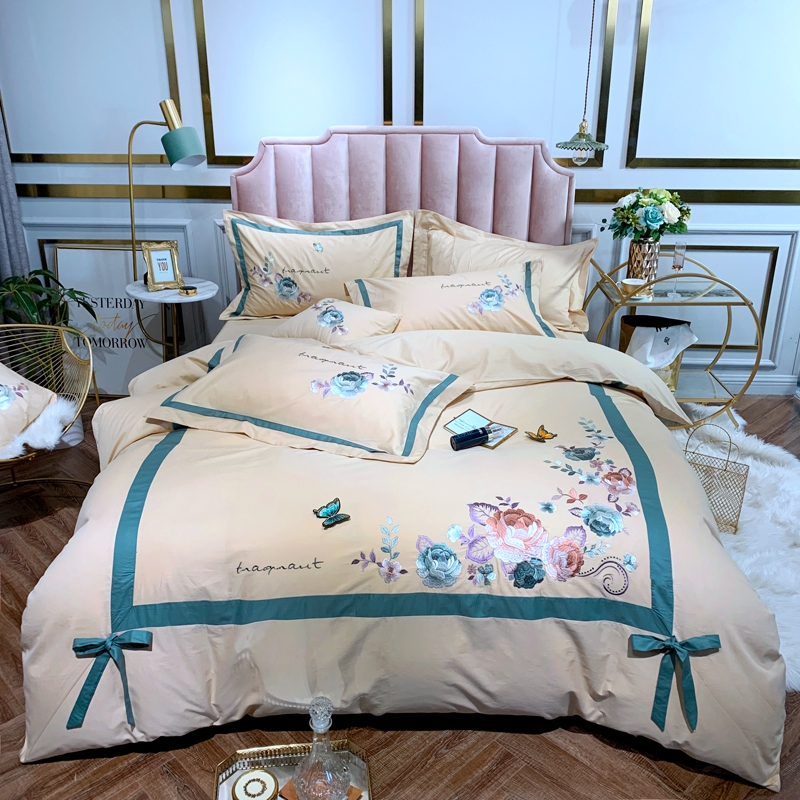 Blooming Flower Embroidery Duvet Cover Set Pink White 4Pcs 100 Cotton Ultra soft Bedding Set Queen