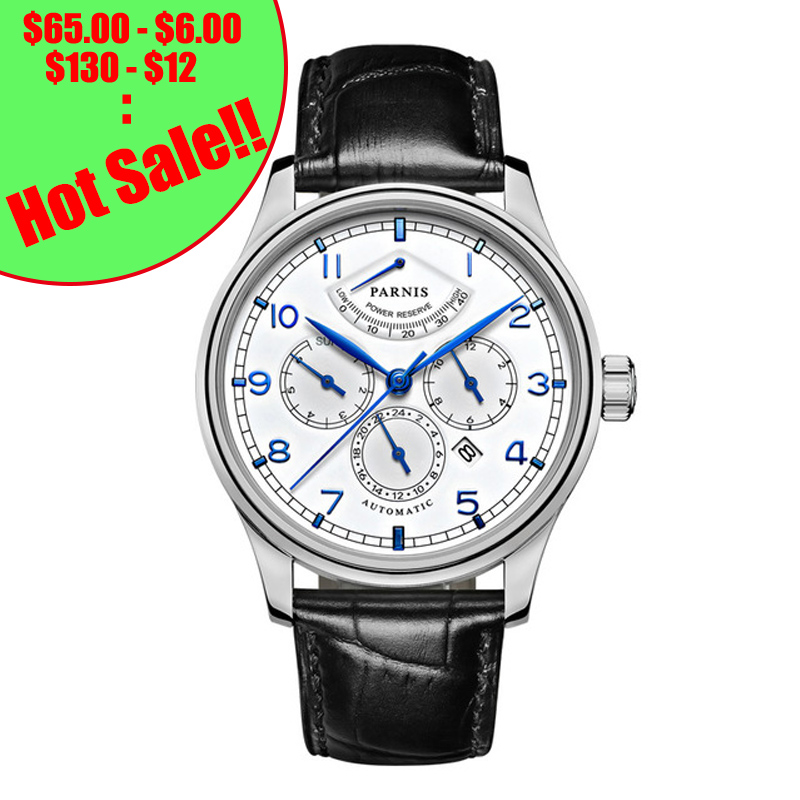 Parnis 42mm Automatic Watch Moon Phase Power Reserve Watch Men Luxury Brand Top Miyota Mechanical Winder