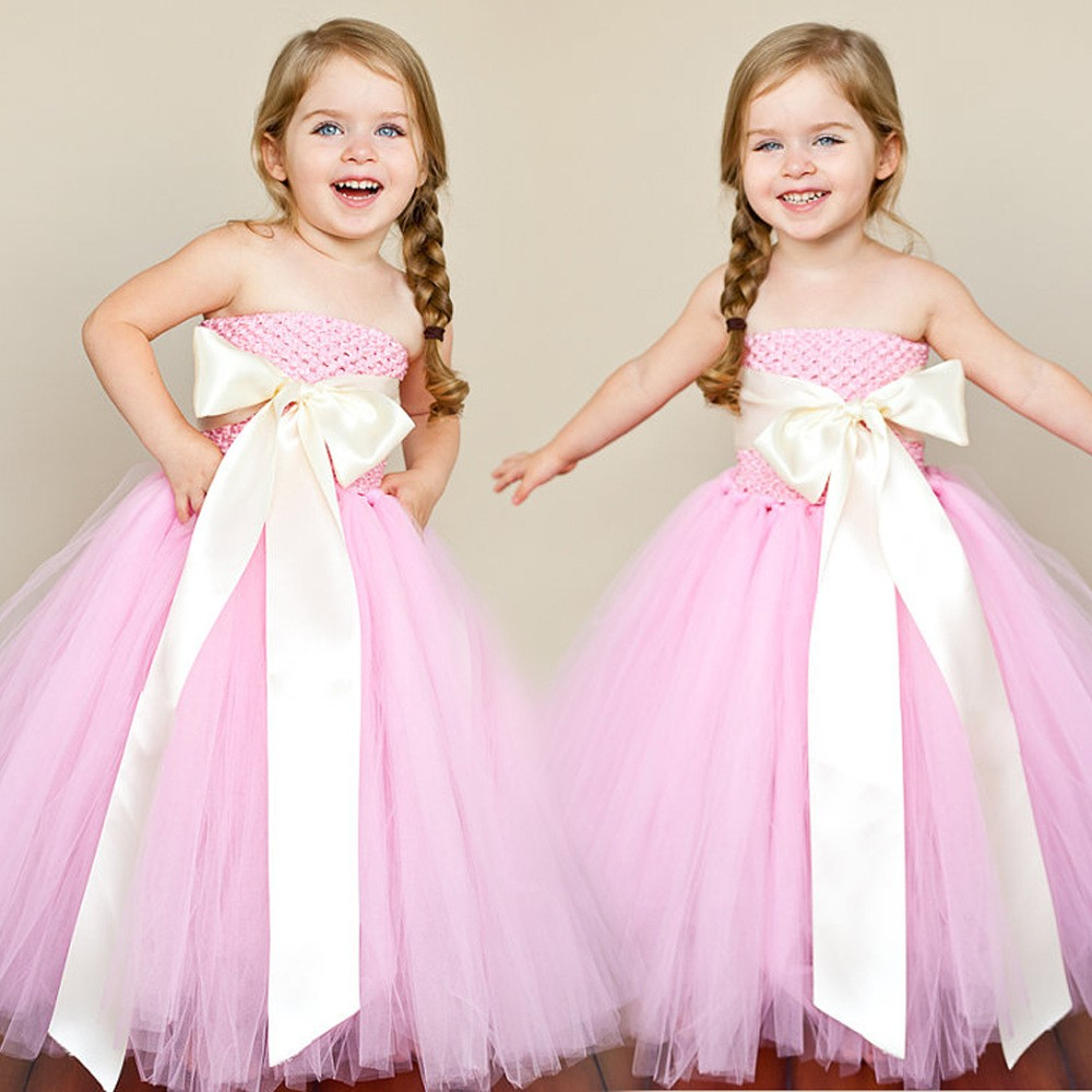 Cute-Girl-Dress-Strapless-Bow-Sash-Pink-Tulle-Flower-Girl-Dresses-Pink-Girl-Dress-for-Wedding