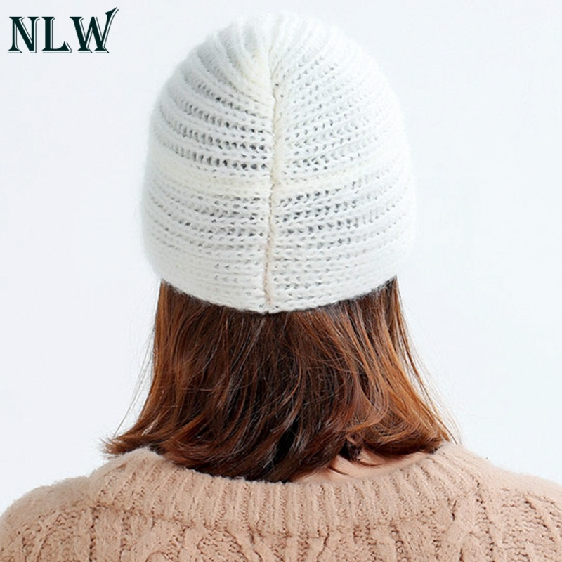 d5588801f NLW 2018 Winter hats Women off White Knitted Beanie Female Warm Yellow Caps  Streetwear Gorros Mujer Invierno