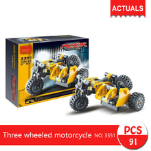 Decool 3351 91Pcs Technic series Three wheeled motorcycle  Building Blocks Bricks Toys For Children  Gift