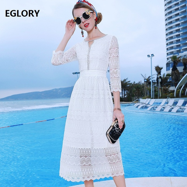 Top Quality Brand Lace Evening Dresses 2019 Spring Summer Club Women Crystal Beading Deco 3/4 Sleeve Midi Party Lace Dress Event