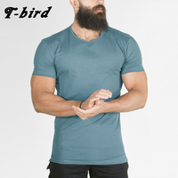 T Bird Men Compression Short Sleeve Crew Neck Fitness Tight T Shirts Tops Men S Summer