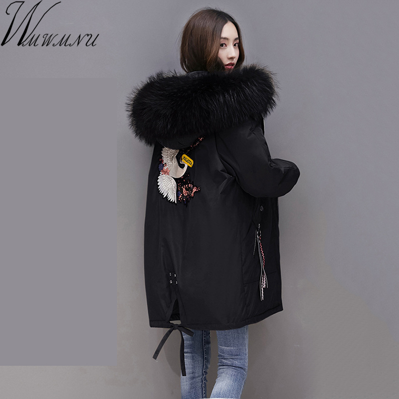 Wmwmnu 2017 Women Winter Large Fur collar embroidery Parkas Female casual bio cotton Coat Wadded Winter Jackets Outwear big Size