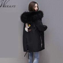 Wmwmnu 2017 Women Winter Large Fur collar embroidery Parkas Female casual bio cotton Coat Wadded Winter Jackets Outwear big Size