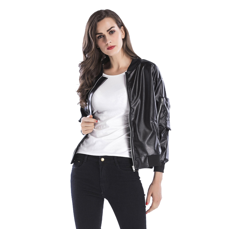 2018 New Fashion Women Autunm Winter Faux Leather Jackets Lady Bomber Motorcycle Cool Outerwear Coat Plus Size