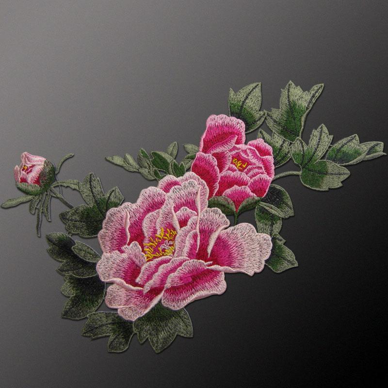 AHYONNIEX Marke Nähen Auf Pfingstrose Blume Patches Tuch Aufkleber Aufkleber Schönes Kleid Hochwertige Stickerei Patches DIY Zubehör