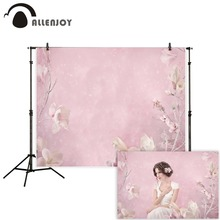 Allenjoy photography backdrops girl pink flowers spring oil painting party Photo background newborn baby photozone photocall pastel pink color princess baby girl photo shoot background printed flowers newborn photography props kids portrait backdrops