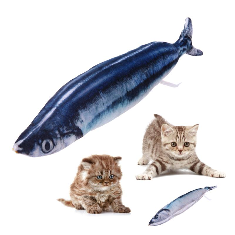 3D Simulation Fish Toy for Cat Kitten PP Cotton Padded Plush Cat Scratch Mint Fish Funny Interactive Cat Toys