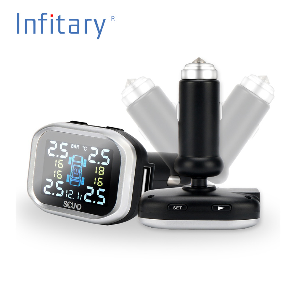 Smart Car TPMS Tire Pressure Monitoring System Cigarette Lighter Digital LCD Display Auto Security Alarm Systems