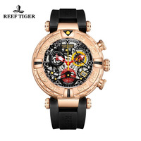 Reef Tiger/RT Top Brand Mens Sport Watches Rose Gold Skeleton Watches with Chronograph reloj hombre masculino RGA3059 S