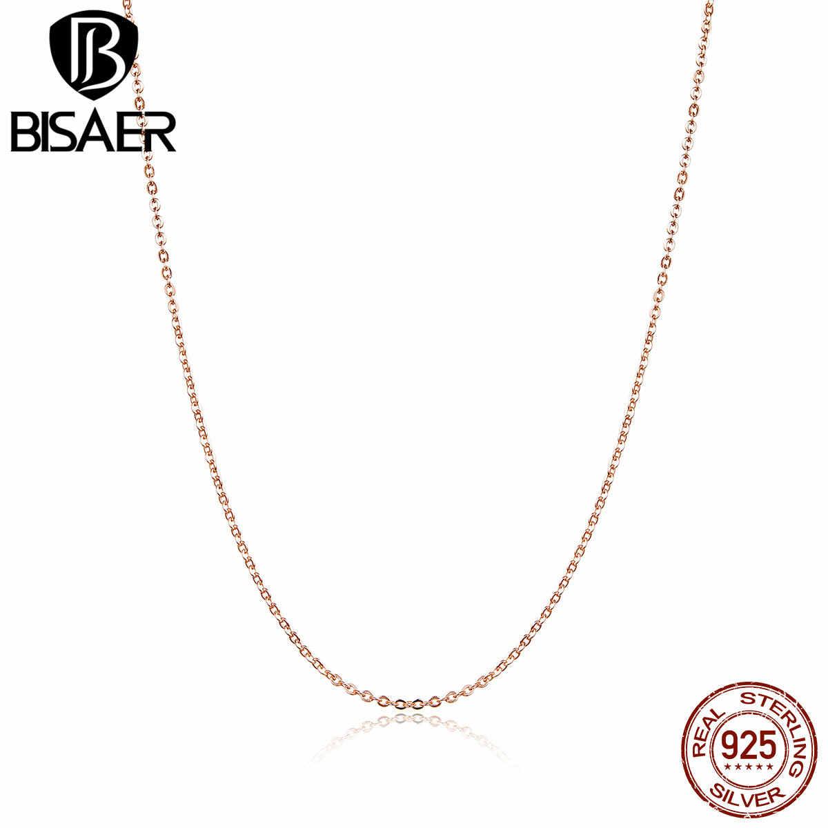 BISAER Горячая Распродажа, звеньевая цепочка, ожерелья, 925 пробы, серебро, дешевые женские ожерелья, розовое золото, цвет воротника, 45 см, серебряное ювелирное изделие ECA014