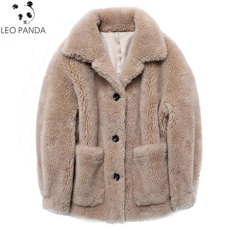 Winter Real Wool Fur Coat Female Sheep Shearing Coats 2019 Hooded Thick Warm Lining Lamb Fur Jacket Plus Size Women Outerwear