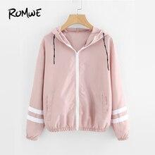 ROMWE розовый Varsity-Striped Zip Up куртка с капюшоном Женская Повседневная Осенняя новая стильная толстовка с капюшоном пальто Женская Весенняя спортивная верхняя одежда