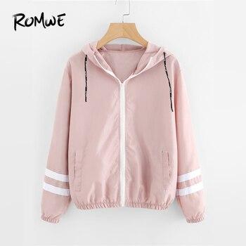 69051ecad01 ROMWE Rosa Varsity rayas cremallera con capucha chaqueta con capucha de las  mujeres casuales de otoño nuevo estilo Sudadera con capucha abrigos damas  ...