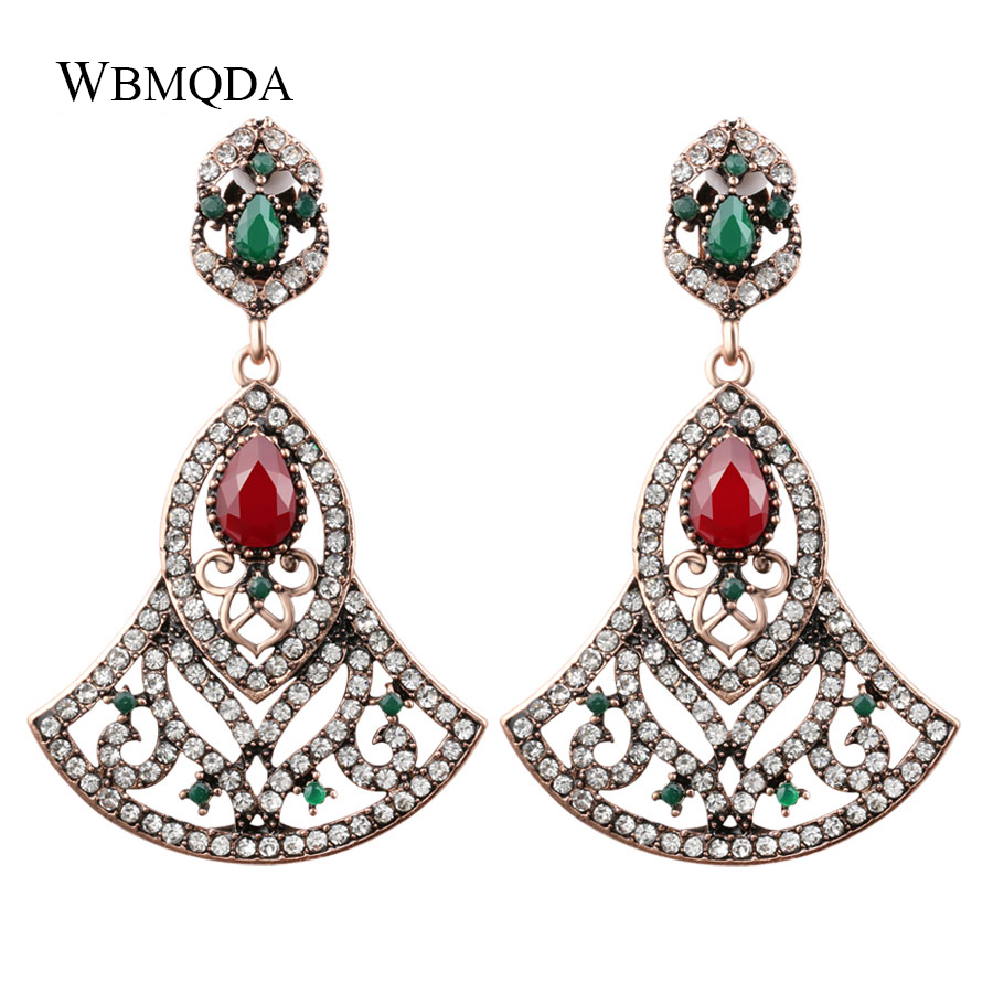 Dutiful Luxury Big Crystal Bridal Earrings For Women Fan Shape Drop Earrings Bohemian Antique Gold Indian Jewelry Party Accessories Numerous In Variety Furniture