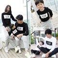 Verão Outono S-3XL Família Combinando Roupas Plus Size 3XL Carta de Algodão de Manga Comprida T-shirt Matching Roupas Filha Da Mãe