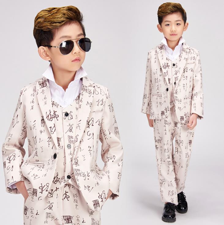 Vêtements d'impression hommes costumes enfants dessins scène caractère chinois calligraphie chanteurs bébé veste hommes blazer star style robe