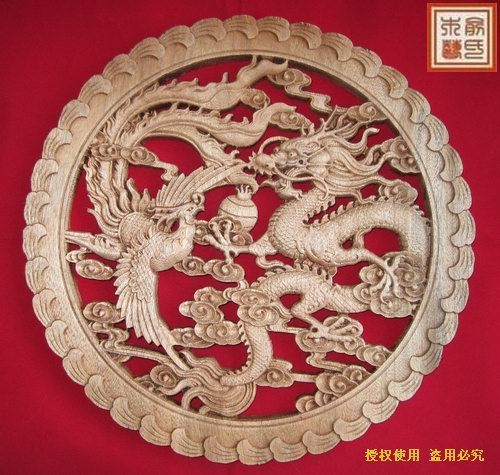 Dongyang Wood Carving Crafts Chinese Style Antique Furniture Camphor Wood  Wall Hanging Dragon And Phoenix Play