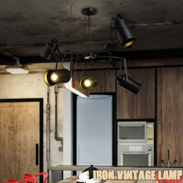 ASCELINA LED Pendant Light American Retro Industrial Creative Adjustable  Spotlight Multiple Lamp Holder Rooms Bar Clothing Store