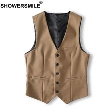 SHOWERSMILE Brand Khaki Suit Vest Men Slim Fit Vintage Sleeveless Jacket Male Classic Gilet Suit Autumn Winter Waistcoat Vest showersmile mens double breasted vest suit black dress waistcoat for men slim fit sleeveless jacket male spring autumn gilet