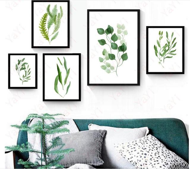 Decorative Paintings Simple Living Room Bedroom Wall Wall Paintings Small  Fresh Green Plants Frameless Leaves Synthetic Canvas