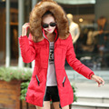 Plus Size Winter Women Thick Cotton Blended Warm Overcoat Ladies Hooded Collar Long Sleeve Jacket Outwear Wadded Down Coat YF92