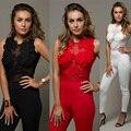 Новые Моды для Женщин Sexy Кружева Цветочный Клубная Одежда Длинные Брюки Комбинезон Ползунки Playsuit