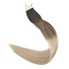 Full Shine Tape in Remy Hair Extensions Color #2 Fading to 18 and #60 Blonde Skin Weft Extenisons 20Pcs 50g Glue on