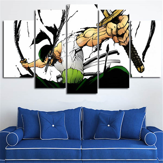 Canvas Painting Wall Art Pictures 5 Pieces One Piece Roronoa Zoro Modern Printed Animation Poster Home Living Room