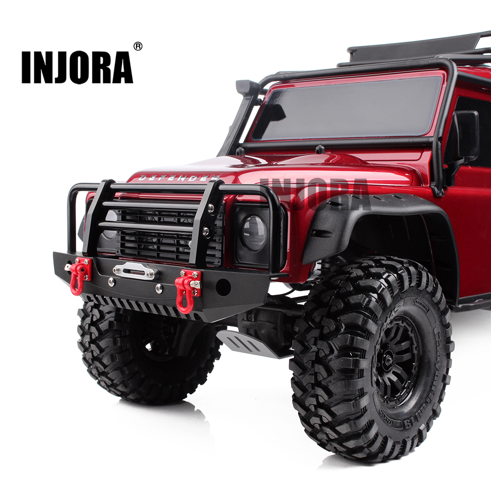INJORA Metal Front Bumper with Light for 1/10 RC Crawler Car Axial SCX10 90046 Traxxas TRX-4 TRX4 1 10 rc climbing car part cnc metal alloy front bumper collision for traxxas trx 4 trx4 axial scx10 including lights