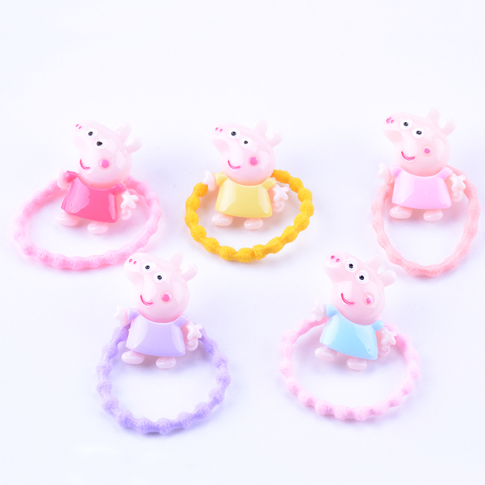 LOEEL 2PCS/LOT Cute Girl Cartoon Peppa Pig Shape Hair band Rubber Band for Girl Baby Kids Colorful Hair Accessories peppa pig george and the noisy baby pb