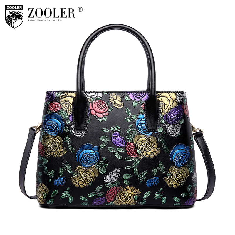 ZOOLER 2018 NEW women leather bag stylish designed genuine leather bags high quality top handle embossed bag bolsa feminina#t503 stylish jewel neck backless pu leather top for women