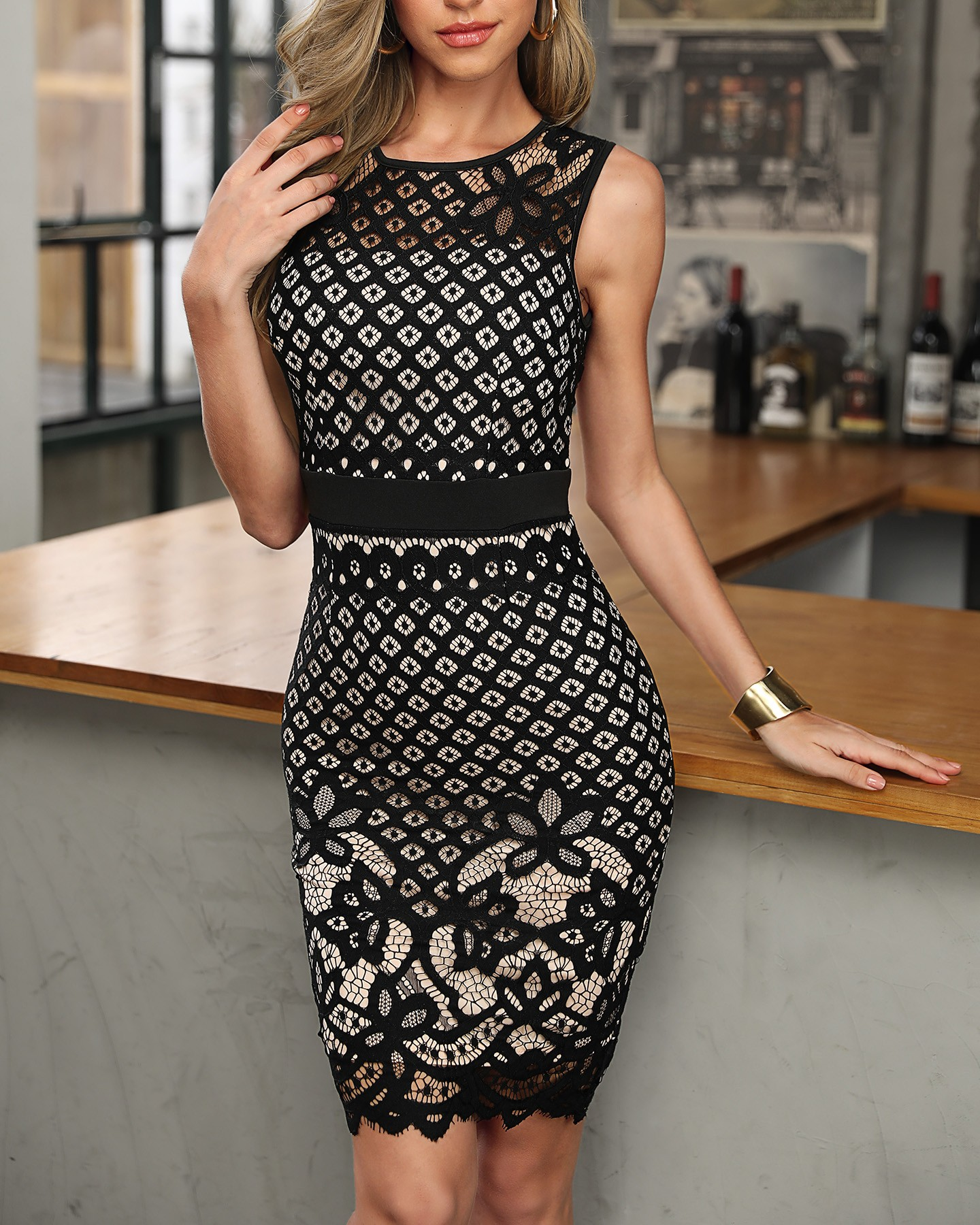 Black Hollow Out Lace Stitching Party Dress 6